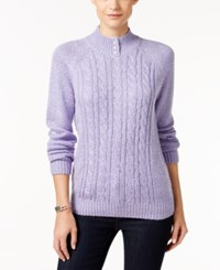 Karen Scott Petite Marled Cable Knit Mock Neck Sweater Only At Macy's Purple Bliss