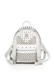 Mcm Stark Special Mini Studded Leather Backpack White