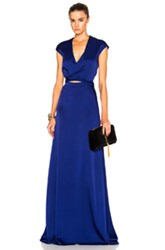 Victoria Beckham Back Drape Gown In Blue