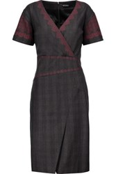 Etro Embroidered Stretch Wool Dress Gray
