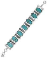 Lucky Brand Silver Tone Large Oval Stone And Feather Bracelet