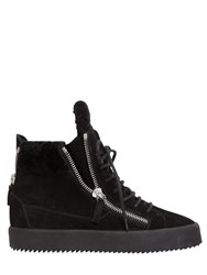 Giuseppe Zanotti 50Mm Shearling And Suede Wedge Sneakers