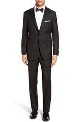Hickey Freeman Men's Big And Tall Beacon Classic Fit Wool Tuxedo Black