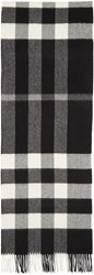 Burberry Black And White Cashmere Check Scarf
