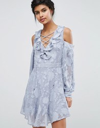 Dark Pink Lace Up Front Burn Out Mini Dress Grey Blue