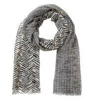 East Graphic Sequin Border Wool Scarf Neutral