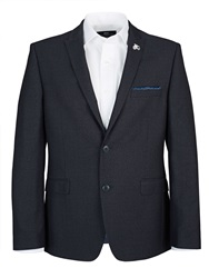 Lambretta Slim Blue Textured Two Piece Suit