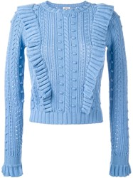 Manoush Cable Knit Ruffled Jumper Blue