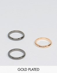 Simon Carter Band Stacking Rings In 3 Pack Multi