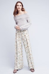 Anthropologie Civray Printed Wide Legs Silver