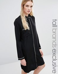 Fashion Union Tall Slinky Shirt Dress With Contrast Piping Black