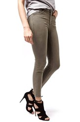 Women's Topshop 'Leigh' Khaki Ankle Skinny Jeans