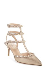 Valentino 'Rockstud' T Strap Pump Women Rose Gold Leather
