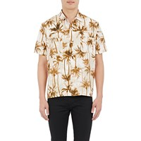 Saint Laurent Palm Tree Print Short Sleeve Shirt Beige Tan