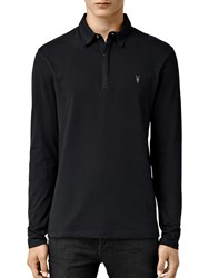 Allsaints Brace Long Sleeve Polo Shirt Black