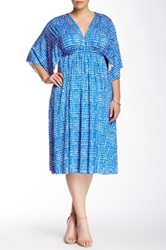 White Label By Rachel Pally Printed Kaftan Dress Plus Size Blue