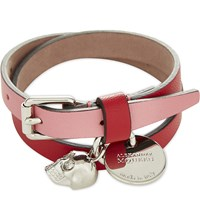 Alexander Mcqueen Skull Double Wrap Leather Bracelet Red Pink