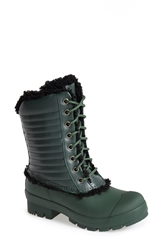 Hunter Original Genuine Shearling And Patent Leather Lace Up Rain Boot Women Forest Green