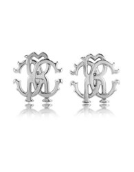 Roberto Cavalli Rc Icon Silvertone Stud Earrings