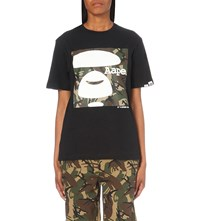 Aape By A Bathing Ape Camo Logo Print Cotton Jersey T Shirt Black