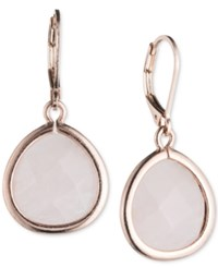 Lonna And Lilly Rose Gold Tone White Stone Drop Earrings Pink