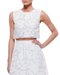 Erin Fetherston Sleeveless Lace Crop Top Bright White