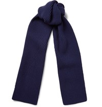 Lanvin Ribbed Wool Scarf Blue