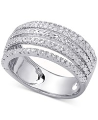 Macy's Diamond Multi Band Statement Ring 1 2 Ct. T.W. In Sterling Silver Or 18K Gold Plated Sterling Silver