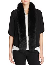 Magaschoni Fox Fur Trimmed Cashmere Cocoon Cardigan Black