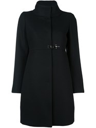 Fay Funnel Neck Coat Black