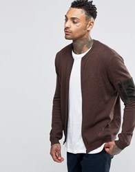 Asos Knitted Bomber With Military Pocket Styling Tan And Navy Twist Brown