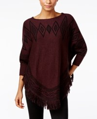Styleandco. Style Co. Patterned Fringe Poncho Sweater Only At Macy's Dried Plum Black