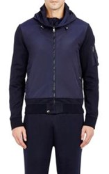 Moncler French Terry And Tech Taffeta Hoodie Blue