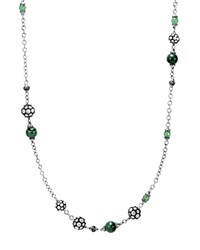 John Hardy Sterling Silver Dot Station Necklace With Tsavorite Malachite And Green Onyx 36 Green Silver