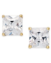 B. Brilliant 18K Gold Over Sterling Silver Earrings Cubic Zirconia Square Stud Earrings 2 Ct. T.W.