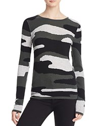 Aqua Cashmere Camo Crewneck Cashmere Sweater Black Army Light Grey
