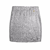 Mcma London Mini Metallic Skirt Silver