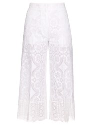 Hillier Bartley High Rise Wide Leg Lace Trousers White
