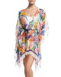 Milly Banana Leaf Chiffon Caftan Coverup Multicolor