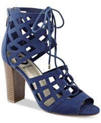 G By Guess Iniko Caged Lace Up Sandals Women's Shoes Dark Blue