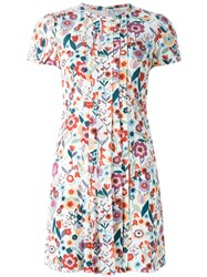 Red Valentino Floral Print Front Pleated Dress White