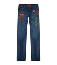 Dolce And Gabbana Embellished Slim Leg Jeans Male Black