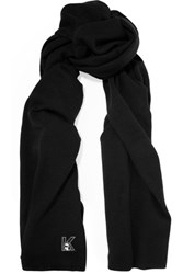 Karl Lagerfeld Appliqued Knitted Scarf Black