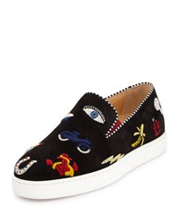 Christian Louboutin Pik N Luck Flat Suede Red Sole Sneaker Black