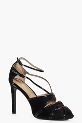 Boohoo Peeptoe Cut Work Heels Black