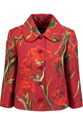 Dolce And Gabbana Floral Print Matelasse Cotton Blend Jacket Red