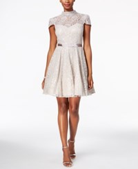 Betsy And Adam Mock Neck Lace Fit Flare Dress Grey