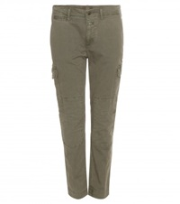 Closed Cropped Cotton Trousers Green