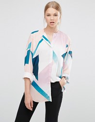 Asos Collarless Blouse In Abstract Print Multi