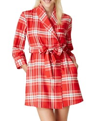 Kate Spade Plaid Bow Back Flannel Short Robe Red